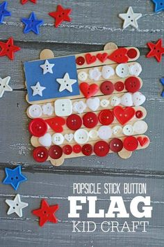 Kid DIY - July 4th project with Popsicle sticks and buttons. Thanks to The Half Moon Button Club of the Capital District on FACEBOOK. #buttonlovers