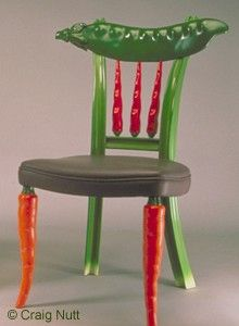 Celery Chair with Carrots, Peppers, and Sno Pea by Craig Nutt