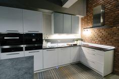 Beautiful modern kitchen with brick elements / Kuchnia z elementami cegły Brick, Kitchen Cabinets, Modern, Beautiful, Home Decor, Trendy Tree, Decoration Home, Room Decor, Cabinets