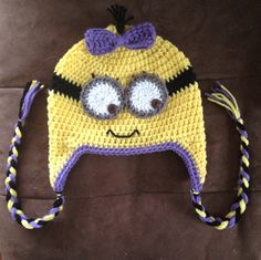 Girly Minion Beanie Despicable Me Inspired, $18.00 Ordered for Paisley for her Winter Hat today!