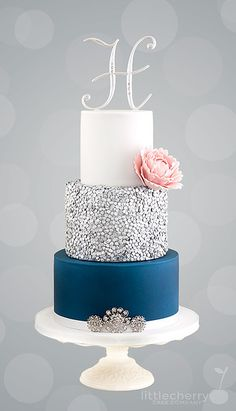 Love Wedding Cakes Navy Blue and Silver Sequin Wedding Cake by Little Cherry Cake Company Navy Blue Wedding Cakes, Metallic Wedding Cakes, Sequin Wedding, Purple Wedding, Trendy Wedding, Navy Silver Wedding, Wedding Flowers, 3 Tier Wedding Cakes, Elegant Wedding