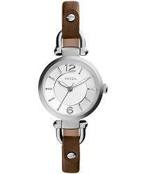 Fossil Women's ES3861 Georgia Three-Hand Leather Watch – Dark Brown