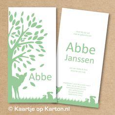 Geboortekaartje Abbe met een afbeelding van een boom en dieren op wit karton. Modern (en retro) geboortekaartje voor een jongetje in 1 kleur dubbelzijdig gedrukt op wit karton. Wil je aanpassingen in dit ontwerp? Je kunt kiezen uit andere kleuren, lettertypes en kartonsoorten zodat het geboortekaartje volledig naar jullie wens is. Uiteraard kun je ook …