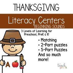 Thanksgiving Literacy Centers; Leveled Beginning Sounds Centers for PreK & K
