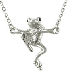"""Give her the girlfriend gift that says: 'hold onto your dreams"""" :) Gift idea for women - silver frog necklace"""