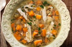 Slow Cooker Chicken Soup ~ For this recipe, just throw a whole chicken in the slow cooker with dried thyme and vegetables. Then let it simmer away until the chicken falls apart in the rich, chicken-y broth. Take the chicken out, shred the meat, and add it back to the slow cooker, then stir in cooked egg noodles, or steamed white or wild rice to make it even heartier.