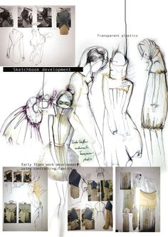 Fashion Sketchbook development - fashion design sketches and experiments with mixed fabrics and transparent plastics