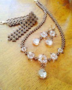 Golden crystal statement necklace Swarovski by AmyKanarekDesigns