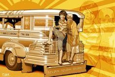 Jeepney by on DeviantArt Filipino Art, Filipino Culture, Cultura Filipina, Retro Art, Retro Vintage, Philippine Art, Jeepney, Social Realism, Philippines Culture