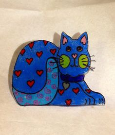 Shrink Plastic Hand Drawn Valentine Cat Pin In by ScovilDesigns, $8.50 Shrink plastic jewelry