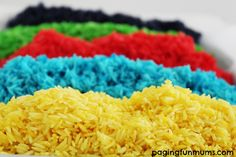 DIY Coloured Rice…great for craft, sensory play & more! Only 3 ingredients required for hours of play!