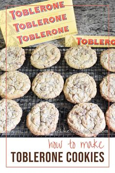 Toblerone Recipes. Toblerone Cookies. I had the idea to try the Swiss Toblerone chocolate in cookies. I wasn't sure how the nougat bits would taste or if they would melt or stay intact. After giving it a try, I was super glad I did. The little nougat pieces add the tiniest bit of crunch. They taste amazing! Cupcake Bakery, Cupcake Cookies, Cupcakes, Easy No Bake Desserts, Delicious Desserts, Cakey Cookies Recipe, Toblerone Chocolate, Chocolate Heaven, Cookie Recipes