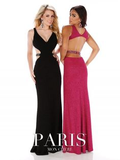 Mon Cheri Paris 116779 Jersey Gown with Cutout Sides- Dare to be that girl in this risky cut out jersey gown. Detailed beaded belt wraps around the cut out natural waistline showing off those girly curves!