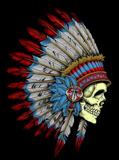 Indian Headdress Tattoo, Indian Skull Tattoos, Skull Girl Tattoo, Native American Images, Native American Wisdom, Colored Tattoo Design, Painted Cow Skulls, Native Tattoos, Old School Tattoo Designs