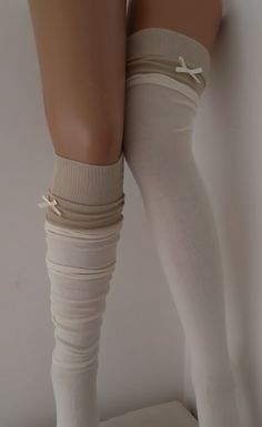 Ivory High Knee Socks Boot Socks Lace Over The by CarnavalBoutique, $20.00
