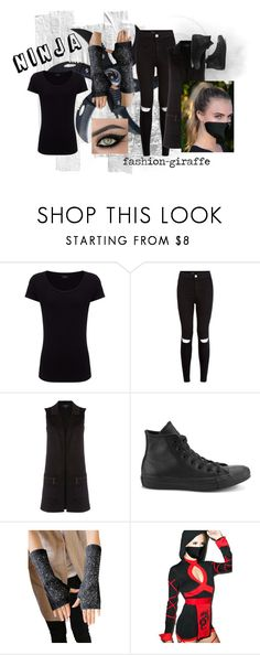 """""""Ninja Halloween Costume"""" by fashion-giraffe ❤ liked on Polyvore featuring Joseph, New Look, Therapy, Converse and Leg Avenue"""