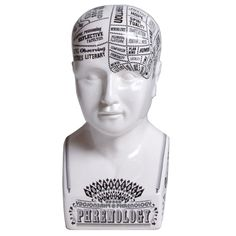 Phrenology Bust  Designed for Seletti by graphic designer Lorenzo Petrantoni, the Phrenology Bust is inspired by the pseudoscientific doctrine that believes that every psychic function depends on assigned cerebral areas. Crafted in fine porcelain with handmade silkscreen graphics, this striking decorative piece will accent any decor.