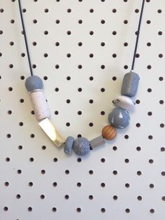 Necklace no. 1 | polymer clay, wood and metal by TheQuietObsession on Etsy https://www.etsy.com/listing/227104934/necklace-no-1-polymer-clay-wood-and