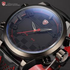 New Shark Series Analog Digital Dual Display Multiple Time Zone Black Red Stainless Steel Case Leather Strap LED Watch / SH203 $42.99