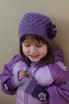 Purple Girls Hat and Handwarmers