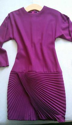 Gianni versace vintage (1980s?) fuchsia pleated skirt drop-waist wool dress