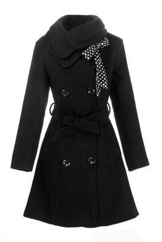 Black Wool Long Winter Dress Coat | Long winter dresses, Long ...