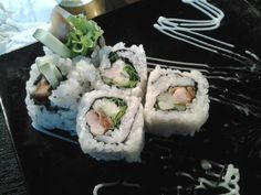 Karage roll, try this...!!! You can eat it at Asagaya japanese restaurant in Yogyakarta Indonesia. Contain chicken meat, mushroom, rice, cucumber, and mayonaise, so far it has a good taste.