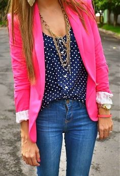 Hot pink blazer + navy with white polka dots top ♥♥