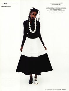 "Dazed & Confused, March 2003 ""Now that's what I call Spring/Summer collections 2003″ photographer: Louis Girardi stylist: Judy Blame models: Manuela in Yohji Yamamoto S/S 2003"