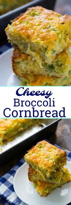 Cheesy Broccoli Cornbread #broccoli #cornbread