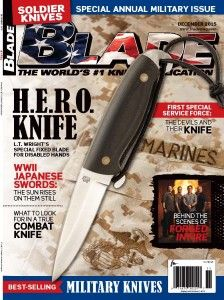Our H.E.R.O. Knife is on the cover of the December 2015 issue of Blade Magazine! #blade #blademag #hero #heroknife #ltwk #knife
