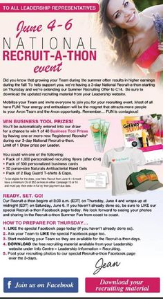 Avon Canada National Recruit-A-Thon Event from June 4th - 6th.  Message me, call 1-800-280-6823 or visit www.feannyxu.com #AvonCanada #joinAvon #workfromhome #homebasedbusiness #freedom #fun #job #selfemployed #makeup #skincare #jewellery #fashion #bathbody #cosmetics