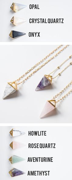 Pyramid Crystal Necklace Rose Quartz Necklace Aventurine Necklace Tribal Summer…