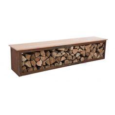 RedFire BENCH TYR stylový ocelový dřevník 120 cm, lavice s úložným prostorem Wood Storage, Firewood, Bench, Texture, Crafts, Ideas, Surface Finish, Benches, Crafting