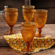 The Pioneer Woman 12-Ounce Amber Adeline Glass Goblet Set, 4-Pack - Walmart.com