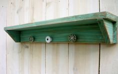 Shabby Shelf With 4 Vintage Knobs or Hooks and by honeystreasures, $85.00, 85 dollars???? How about thrift store, DIY paint/sand/hardware-probably 10 bucks.