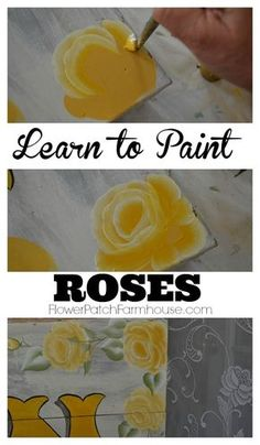 Learn how to Paint Roses, a step by step free tutorial with video. Paint beautiful roses in no time. FlowerPatchFarmhouse.com #artofthemix #painting