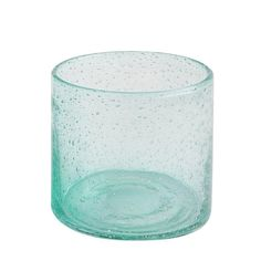 Glass Candle Holder, Aqua Bubble Fin