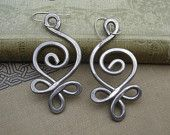 BIG Celtic Budding Spiral Earrings- Light Weight Aluminum Wire- Sterling Silver Ear Wires