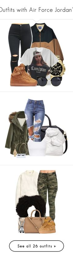 """Outfits with Air Force Jordan's"" by barbiedatrillest ❤ liked on Polyvore featuring Michael Kors, NIKE, Givenchy, WithChic, Forever 21, Gorgeous Cosmetics, Topshop, H&M, Casetify and Calvin Klein"