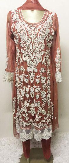 Pakistani Dress Pakistani Clothes Indian Dress Salwar Kameez  Eternal Lace Affair Straight Shirt with Cigarette Pants Size M