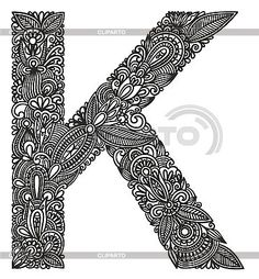 Ornamental initial letter K | Stock Vector Graphics | ID 3094886