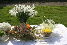 White Narcissi flowers in vintage jug