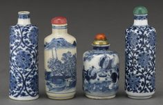 Four blue and white porcelain snuff bottles 1820-1900