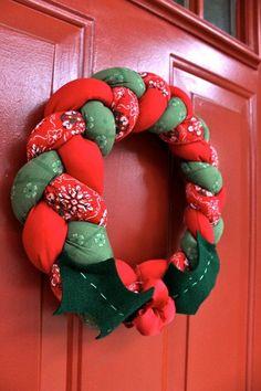 Tutorial coronas navideñas de tela para decorar la puerta