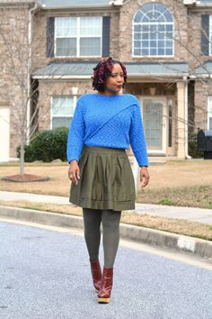 Wearing a thrift store olive skirt with bright blue thrift store vintage sweater. Vintage Sweaters, Blue Sweaters, Thrift Store Outfits, Recycled Fashion, Thrift Fashion, Refashion, Thrifting, Outfit Of The Day, Vintage Fashion