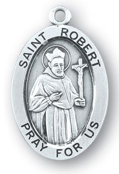 Sterling Silver Oval Shaped St. Robert Medal
