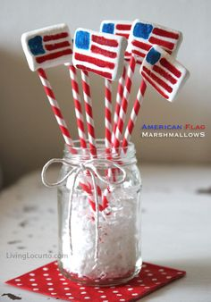 American Flag Marshmallow Pops by LivingLocurto.com Use the Kraft Stacker marshmallows which are already flat - color flag with food coloring pens - use a wooden skewer and cover with drinking straw.