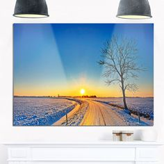 Distant Sunset in Winter - Landscape Photography Glossy Metal Wall Art