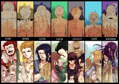 Alexander the Great, Gilgamesh, Gilles de Rais, Diarmuid Ua Duibhne, Hundred-Faced Hassan, Arturia Pendragon, and Lancelot
